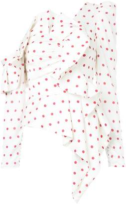 Self-Portrait asymmetric polka dot shirt