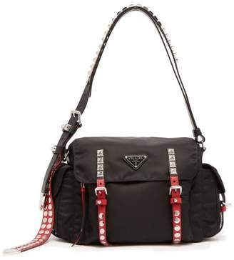 Prada Vela Leather Trimmed Cross Body Bag - Womens - Black Multi
