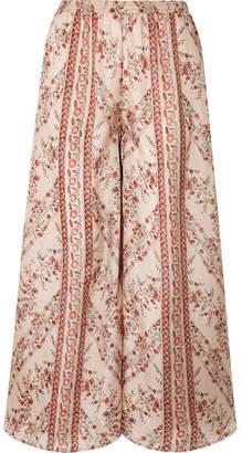 Mes Demoiselles Bogdan Printed Washed-silk Wide-leg Pants - Antique rose
