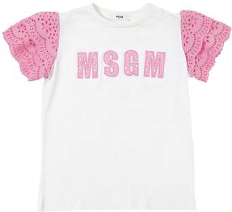 MSGM Cotton Jersey T-Shirt W/ Lace Sleeves