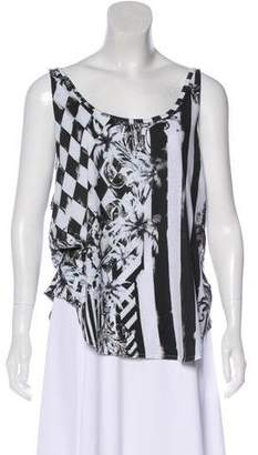 Balmain Graphic Print Sleeveless Top