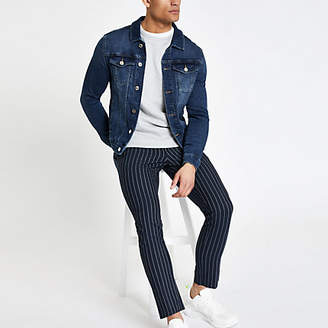 River Island Dark blue muscle fit denim jacket