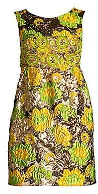 Michael Kors Women's Jeweled Jacquard Empire Waist Dress