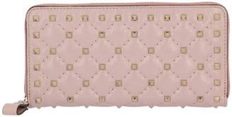 Valentino Garavani Wallet Rockstud Spikes Wallet With Zip Around In Quilted Leather With Metal Studs