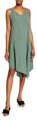 Eileen Fisher Petite Sandwashed V-Neck Sleeveless Asymmetric Shift Dress