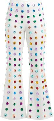 Sara Battaglia Crystal Embellished Kick Flare Cady Trousers - Womens - White Multi
