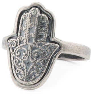 Made In Israel Sterling Silver Filigree Hamsa Ring