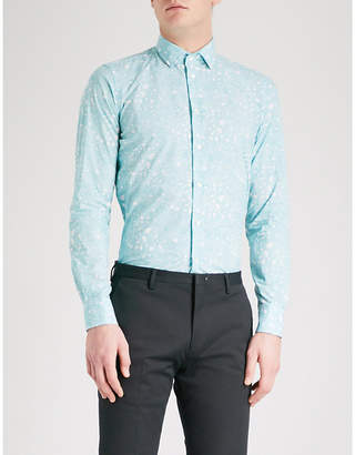 Richard James Contemporary-fit patterned cotton shirt
