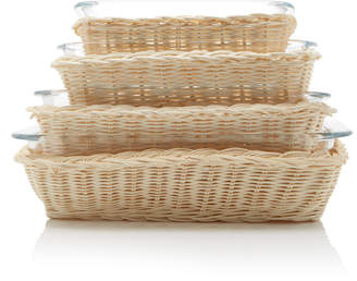 Amanda Lindroth Set-Of-Four Rattan and Glass Serving Dishes