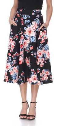 White Mark Women's Floral Printed Midi Skirt