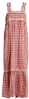 Lee Mathews - Germaine Square Neck Cotton Gingham Dress - Womens - Burgundy White
