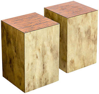 One Kings Lane Vintage Copper Top Cube Side Tables - Set of 2 - Janney's Collection