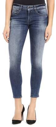 Mavi Jeans Tess Cropped Skinny Jeans in Burgundy Velvet Stripe