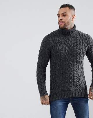 Asos Cable Knit Roll Neck Jumper In Washed Black