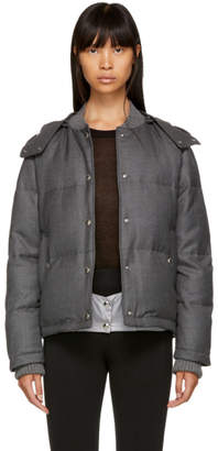 Thom Browne Grey Down Snap Front Hooded Bomber Jacket