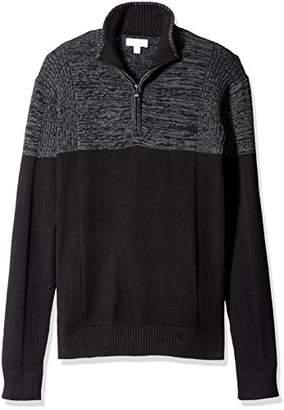 Calvin Klein Men's Quarter Zip Mock Neck Color Block Long Sleeve Sweater