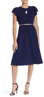 Gabby Skye Flutter Sleeve Waist Belt Dress