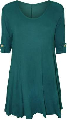 Roland Mouret Fashions Womens Plain Plus Size 3/4 Sleeves With Button Swing Top Tunic Mini Dress 3X/4X US 22/24