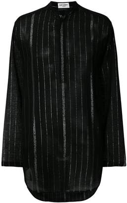 Saint Laurent striped mandarin collar shirt