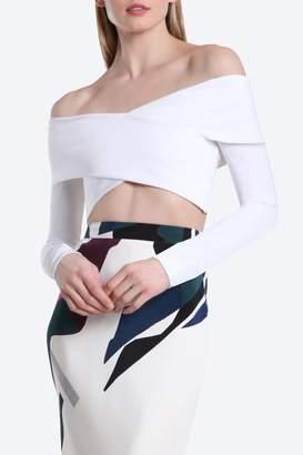 Issa Cushnie White Off-Shoulder Crop Top