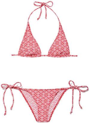 Lisa Marie Fernandez Pamela Two-Tone Seersucker String Bikini