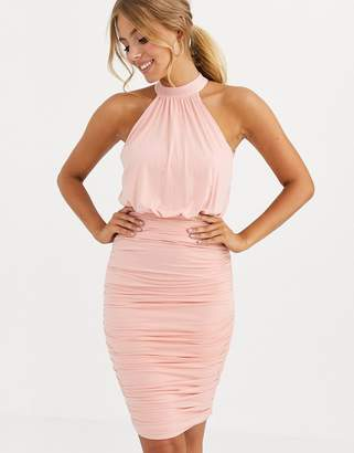 Lipsy slinky halter neck dress in blush