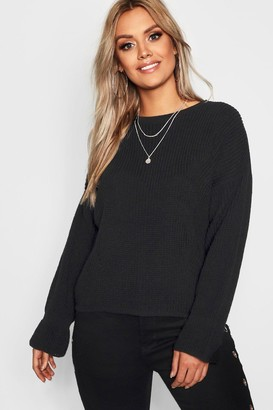 boohoo Plus Cuff Detail Fisherman Sweater