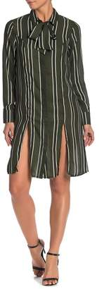 Lumiere Striped Neck Tie Shirt Dress