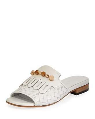 Sesto Meucci Gillis Woven Kiltie Flat Slide Sandals, White