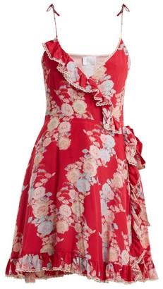 Athena Procopiou - Heartbeats V Neck Floral Print Dress - Womens - Pink Print