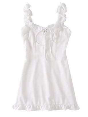Goodnight Macaroon 'Naya' Ruffle Lace-up Shoulder Strap Dress (3 Colors)