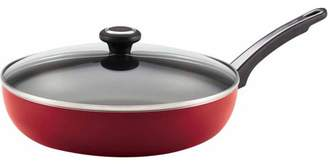 Farberware High Performance Nonstick Aluminum 12-Inch Covered Deep Skillet, Red