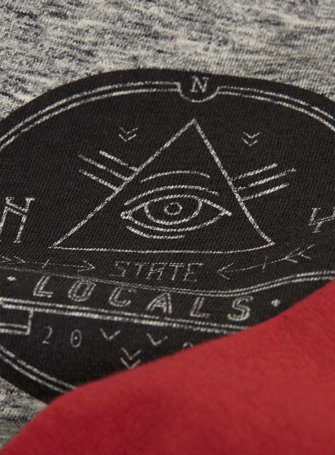 Topman Red/Grey State Locals Printed Long Sleeve T-Shirt