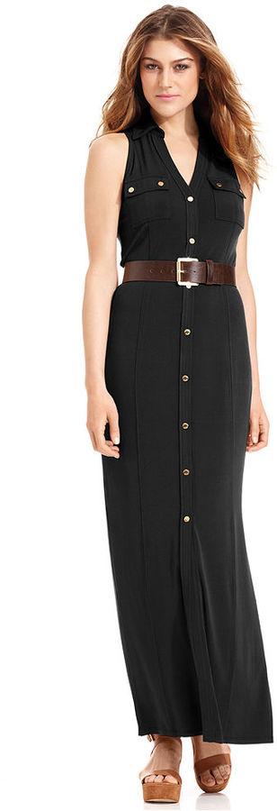 MICHAEL Michael Kors Sleeveless Belted Maxi Shirtdress