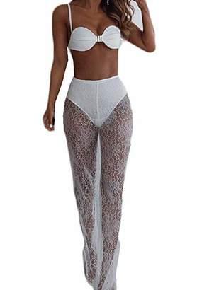 a950cc65ca79c Teetyesy Women's Sexy Lace Mesh Sheer See Through Beach Pants High Waist  Loose Transparent Bikini Cover