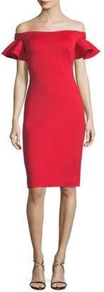 Jovani Off-the-Shoulder Ruffle Cap-Sleeve Cocktail Dress