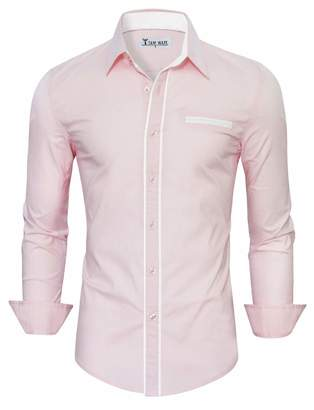ba8167a89b8 Toms TAM WARE Tom s Ware Mens Classic Slim Fit Contrast Trim Longsleeve  Shirt TWNMS310-1
