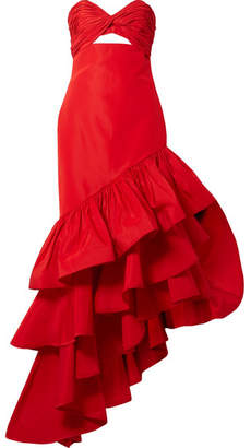 Johanna Ortiz - Spicy Margarita Ruffled Silk-faille Gown - Red