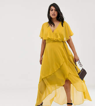 4da073da9ca Asos DESIGN Curve maxi dress with cape back and dipped hem