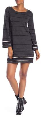Max Studio Crew Neck Bell Sleeve Stripe Dress