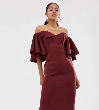 Bardot Asos Tall ASOS DESIGN Tall cape flutter midi dress