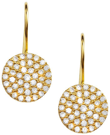 Susan Hanover CZ Pave Disc Earrings, Golden