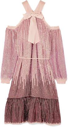 Needle & Thread Kaleidoscope Cold-shoulder Sequined Chiffon Dress