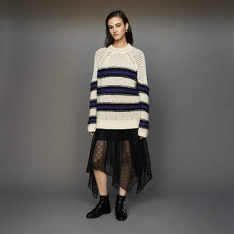 Maje Oversize sweater in tricolor knit