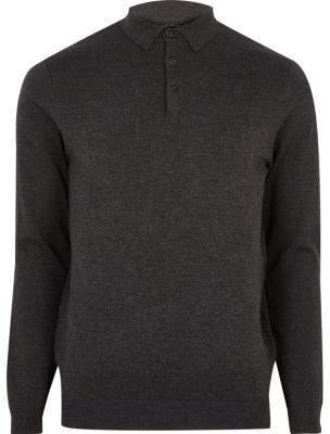 River Island Dark grey long sleeve polo shirt