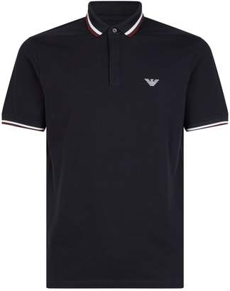 Emporio Armani Striped Trim Polo Shirt