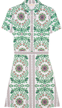 Tory Burch - Port Printed Cotton-blend Mini Dress - Green $350 thestylecure.com