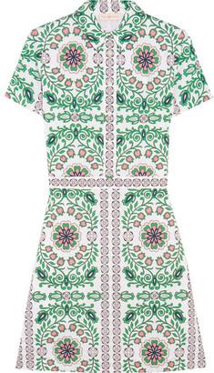 Tory Burch - Port Printed Cotton-blend Mini Dress - Green $350 thestylecure.com