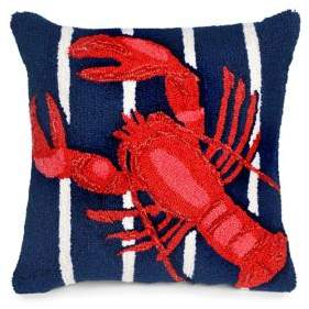 Frontporch Lobster On Stripes Indoor and Outdoor Square Pillow