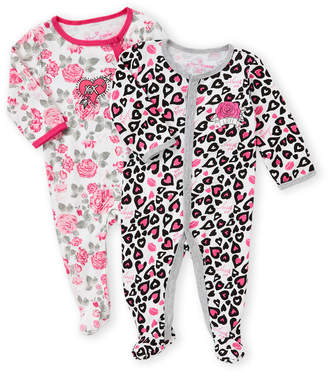 Betsey Johnson Newborn Girls) Two-Piece Floral & Heart Footie Set